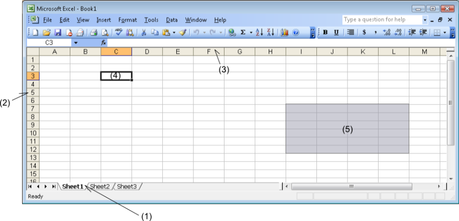 Screenshot of Microsoft Excel 2003 with features notated.