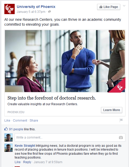 post on University of Phoenix's Facebook Page
