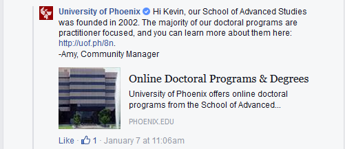 University of Phoenix community manager's reply to my comment