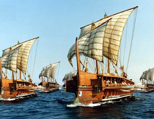 A Reproduction of a Persian-War Trireme [public domain via wikimedia]