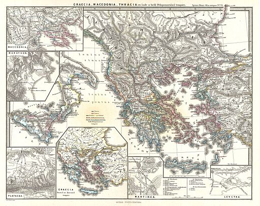 Map of Greece, Thrace, and Macedonia Just Before the Peloponnesian War, Karl Spruner von Merz [Public domain], via Wikimedia Commons (1865) [public domain via Wikimedia]