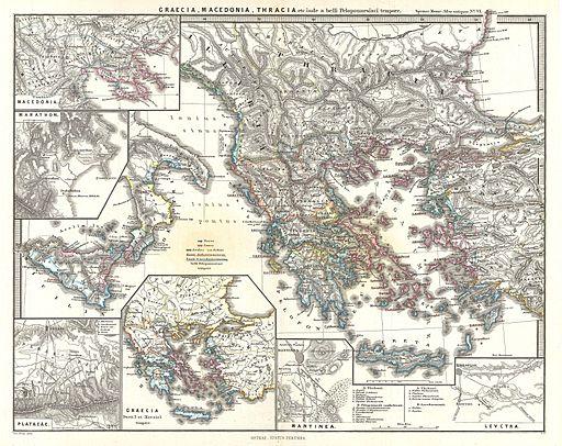 Map of Greece, Thrace, and Macedonia Just Before the Peloponnesian War, Karl Spruner von Merz [Public domain], via Wikimedia Commons (1865) [public domain via Wikimedia]