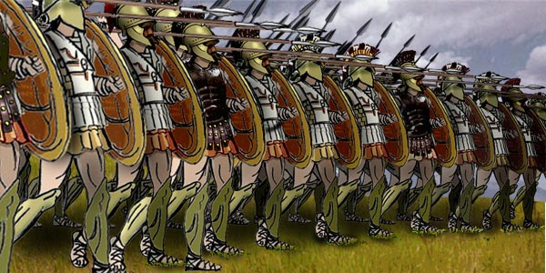 Greek heavy infantry in a phalanx formation [public domain via Wikimedia]
