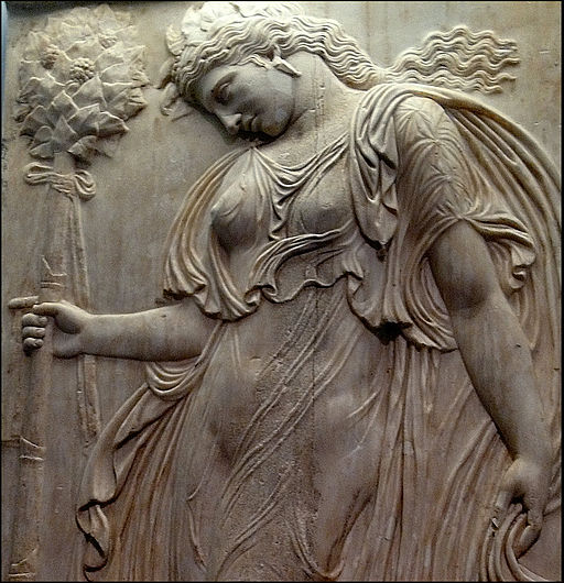 Dancing Maenad in a Roman relief [photo by Ana Belén Cantero Paz, CC BY 2.0 via Wikime