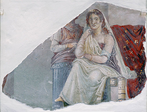 Phaedra in a fresco at Pompeii [photo byFinn Bjørklid, CC BY-SA 3.0  via Wikimedia]