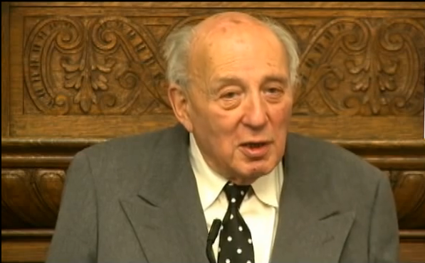 John Lukacs speaking at Eastern University in 2009 (copyright by Eastern University.  fair use justification:  this is a low resolution still from a video, used for educational purposes.  No public domain substitute is available.  There is no foreseeable financial impact on Eastern University.)