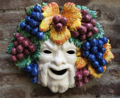 Modern ceramic Bacchus (Dionysus) mask [photo by Spencer Means via Flickr, CC BY-SA 2.0]
