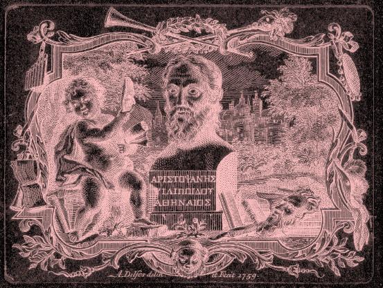 Buste van Aristophanes en putto met masker, in cartouche, Abraham Delfos, 1759 [public domain via Rijksmuseum.  color added]