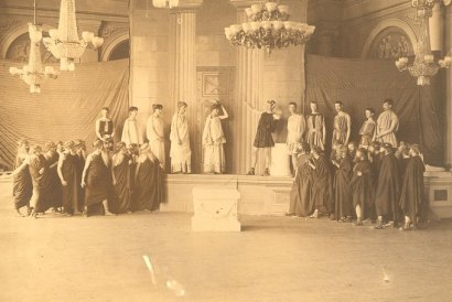 1886 Production of the Acharnians at  University of Pensylvania [public domain via U. Pennsylvania Archives fair use justification: images was taken in 1886 and is out of copyright]]