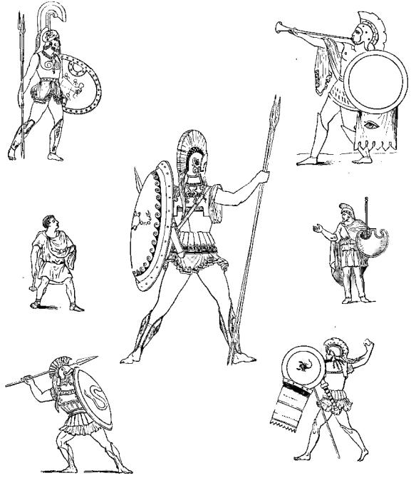Illustrations of Greek Soldiers from An Illustrated Dictionary to Xenophon's Anabasis, 1892 [public domain via Internet Archive]