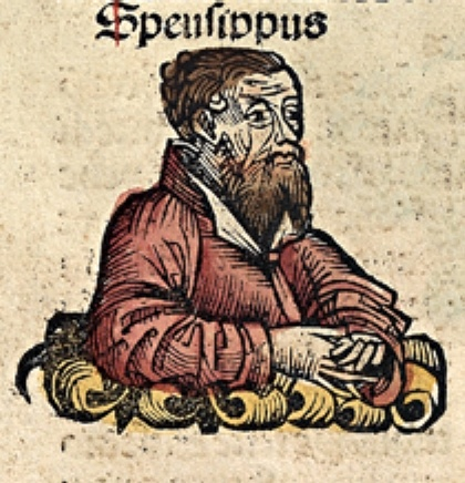 Speusippus, 2nd head of the Academy.  From a medieval manuscript [public domain via Wikipedia]